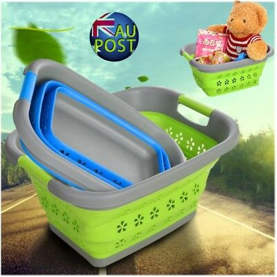 Large Collapsible Laundry Basket Wash Clothes Fruits Bin Space Saving Foldable