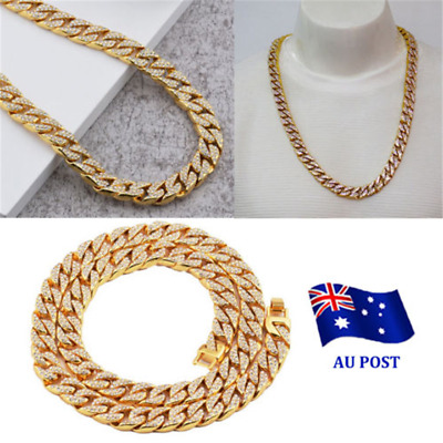 Gold Lab Diamond Cuban Chain Link Micropave Rose Iced Out Men Necklace ON
