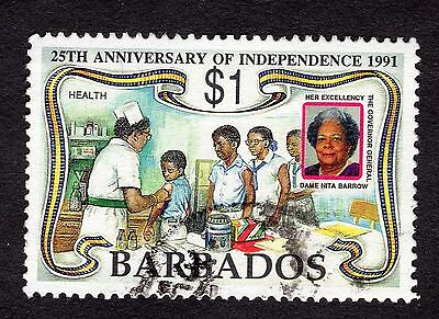 1991 Barbados 1$ 25th Anniv Inependence health clinic SG969 FINE USED R32465