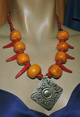 "Morocco pendant amber necklace 22""  great necklace made in Morocco amber  with t"