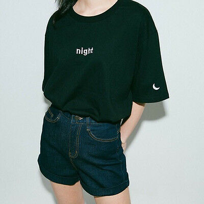 Women's Summer Harajuku Style Day and Night Embroidery T-shirt Sun Moon Tops CN