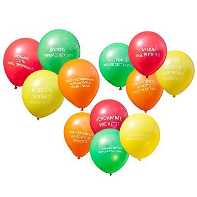 Abusive Rude Vulgar Birthday Party Balloons Messages in French German Russian