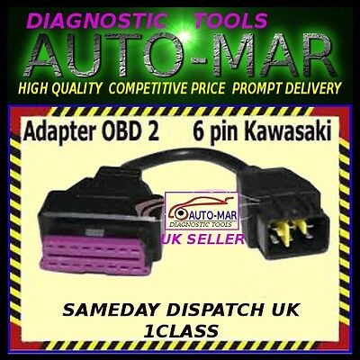 Kawasaki Motorbike Motorcycle 6 Pin To Obd2 Diagnostic Cable