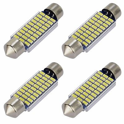 4X Festoon Dome Led Map Light 3014 30SMD 39mm C5W Canbus Error Free LED Bulbs