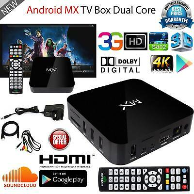 Dual Core MX Android TV Box 4.2 FullHD 1080p Media Streaming Player Box UK Stock
