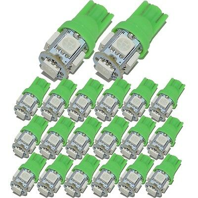 20X Green T10 5050 W5W 194 5SMD LED Car Auto Side Wedge Light Lamp Bulb 168  159
