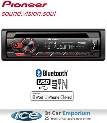 Pioneer DEH-S410BT car radio, CD MP3 USB AUX stereo, Plays iPod iPhone Android