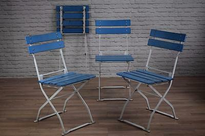 Set Of 4 Vintage Industrial Folding Wood And Metal Garden Outdoor Cafe Chairs