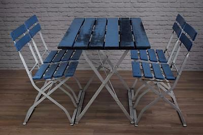 Vintage Industrial Folding Wood And Metal Garden Table And Set Of 4 Chairs