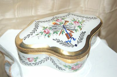Antique Vintage French Porcelain Jewelry Casket Trinkets, Candy! Hand Painted!
