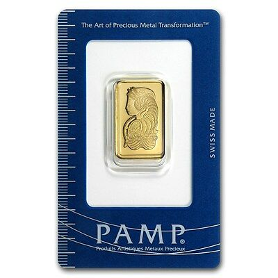 PAMP Suisse Lady Fortuna 10 g gram .9999 Gold Bar (in Assay)