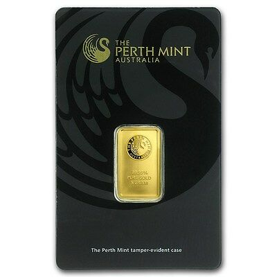 Perth Mint 5 g gram .9999 Gold Bar - Kangaroo Style Back (in Assay - Black)