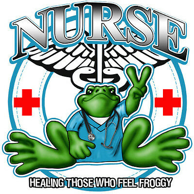 "Peace Frogs Nurse Sticker ~ 5"" Dia ~ High Quality Vinyl ~ Ships Free!!!"