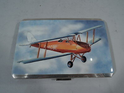 Airplane Cigarette Case - Aviation Collectible - English Sterling Silver Enamel