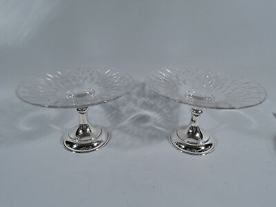 Hawkes Compotes - Pair of Antique Footed Bowls - American Sterling Silver Glass