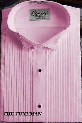 New Pink Tuxedo Shirt Wing Collar Pleated Front Classic TUXXMAN Mens All Size