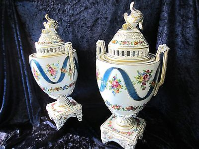 Large Pair Of Beautiful Hand Painted Carl Thieme  Dresden Bolted Urns  C. 1910