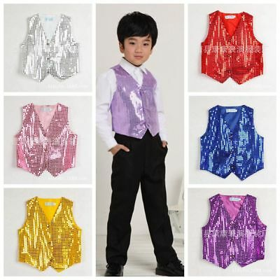 Boys & Girls Sequined Vest Waistcoat Dance Party Show Costumes Modern Dancewear