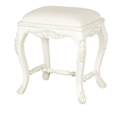 Antique Style White Wooden Bedroom Furniture Piano Dressing Table Seat Stool