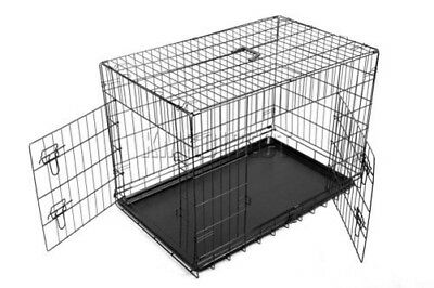 """FoxHunter 24""""30""""36""""42""""48"""" Folding Pet Dog Puppy Cat Training Cage Crate Carrier"""