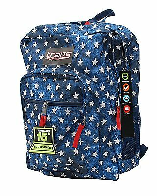 "Trans By JanSport 17"" SuperMax Backpack BLUE W STARS Large JANSPORT Bookbag NEW"