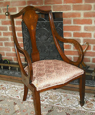 A Lovely Edwardian Marquetry Inlaid Chair