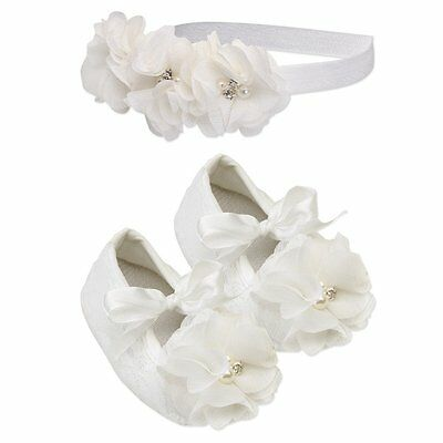 Christening set baby girl baptism wedding head band and shoes pearl off white