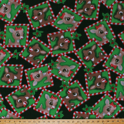 fleece rudolph and clarice reindeer christmas green fleece fabric print a33706