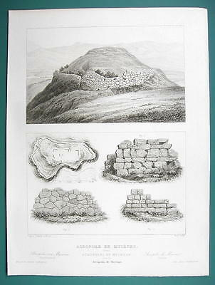 ARCHITECTURE PRINT 1850 - Greece Ancient Acropolis at Mycenae