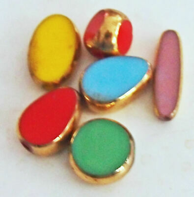 Colored Art Glass Beads w/ Gold Edging variety of colors shapes Vintage 6 beads