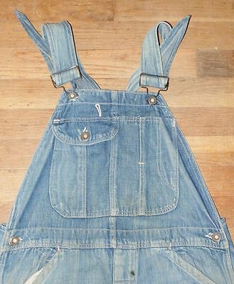Antique 20's 30's Med Wash Denim Patch Stain Button Fly Pockets Overalls 36 x 32