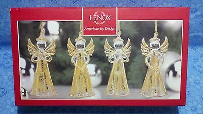 """Lenox """"gold Angels Crystal Ornaments"""" (Set Of 4) --- New In Box"""