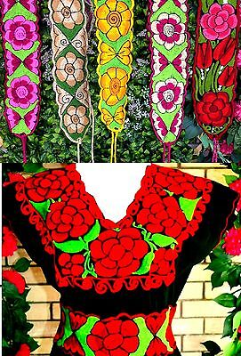 """Colorful Embroidered Flowers Mexican Chiapas Belt(Onesize,adjustable 4"""" Width)O"""
