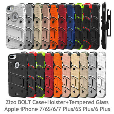 Zizo BOLT Case Cover w/ Holster + Tempered Glass iPhone 7 6S 6 7 Plus 6S Plus