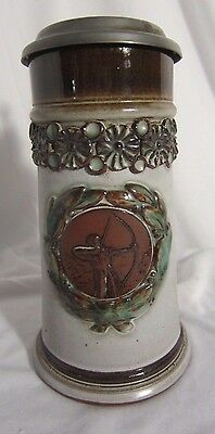 Beautiful Modern Style Lidded Beer Stein -Archery Signed by Artist -Ceramic