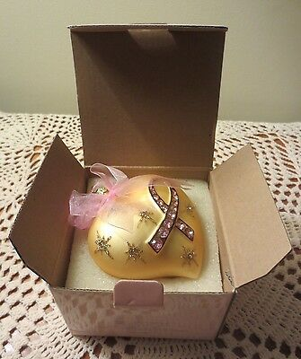 AVON Breast Cancer Awareness Crusade Glass Heart Ornament  (2004) ~ New in Box
