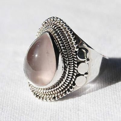 Rose Quartz Ring - Solid 925 Sterling Silver - Size 7 - Pink Stone