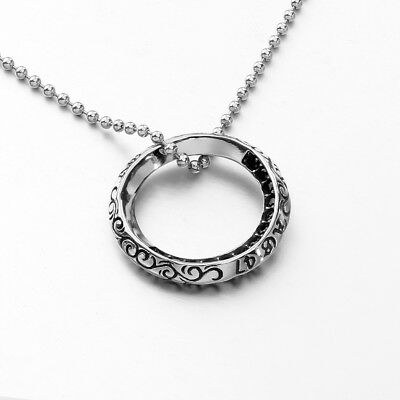 MENDINO Men's Stainless Steel Pendant Chain Necklace Rims Zircon Circle Silver