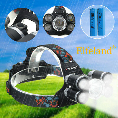 Elfeland 35000LM 5X T6 LED Headlamp Rechargeable Camping Headlight Head Torch UK