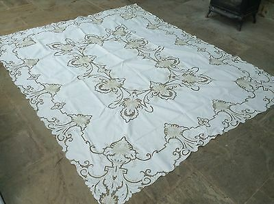 Vintage Large Ornate Stunningly Hand Made Madeira WorkTablecloth 12 Napkins