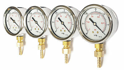 Glycerine Fill Vacuum Gauges for Carburettor Balancing + 6mm hose tail Set of 4