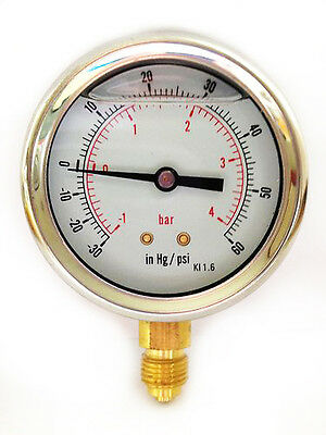 Compound Pressure Vacuum Gauge Glycerine Filled 63mm -1/+4 Bar &-30*Hg/+60 PSI