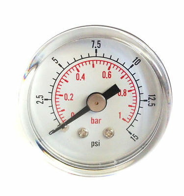 "Low Pressure Gauge for Air Fuel Oil or Water 40mm 0/15 PSI & 0/1 Bar 1/8"" BSPT D"