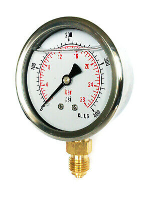 63mm DIAL GLYCERINE FILLED PRESSURE GAUGES VERTICAL 30.100.300,600,1500,10k PSI
