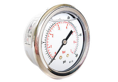 63mm DIAL HYDRAULIC GLYCERINE FILLED PRESSURE GAUGES REAR BACK 30 to 10,000 PSI