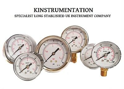 Pressure Gauge 40mm 50mm 63mm Dail Pneumatic Hydraulic Air Gas Water All Ranges