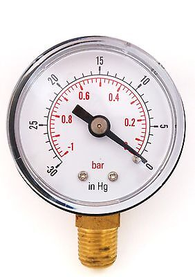 Vacuum Gauge New  50mm -1/0 Bar & -30*Hg 1/4 BSPT Bottom connection