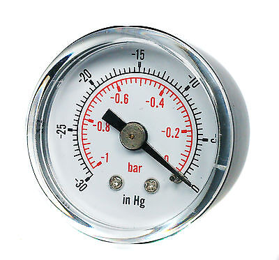 "Vacuum Gauge for Air Fuel Oil or Water 40mm 0/30""Hg & 0/-1 Bar 1/8"" BSPT Back"