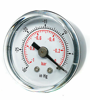 "Vacuum Gauge 50mm -1/0 Bar -30""Hg/0 1/8 BSPT Back Connection Air Water Oil Gas"