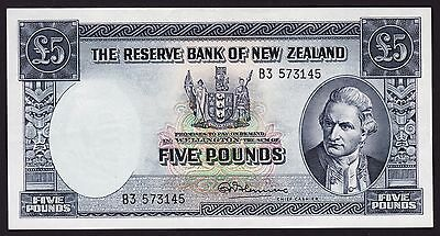 New Zealand 5 Pound Banknote 1956-67 P-160c Fleming Without Security Thread